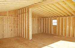 Inside view of pre fab double garage.