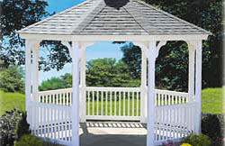 "12' Octagon Elegant No6 white vinyl 2"" x 2"" balusters, black architectural asphalt shingles, gray composite flooring."