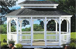 "Classic oval No16 white vinyl 2"" x 2"" balusters, black architectural shingles, gray composite flooring."
