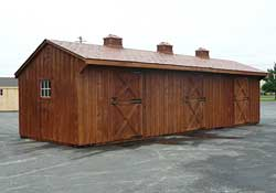 Three stall barn w/ cupolas stained