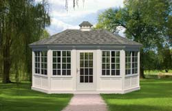 Vinyl octagon style pool house